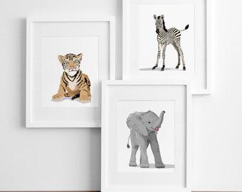 zoo animal nursery baby artwork, baby jungle animal prints  -pick any 3-  safari childrens ilustrations - modern nursery art