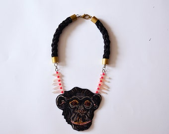 Oversized monkey necklace, Bonobo necklace, Statement Ape necklace, Statement Monkey ecklace, Crystal necklace - Fool Around - MADE TO ORDER
