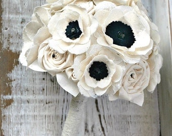 Fabric Flower Bouquet - Anemone Wedding Flowers // Bridal Bouquet, Anemone, Wedding Bouquet, Bridal Flowers, Ivory, Black, Lace, Wedding