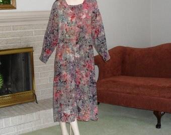 Dress Size Medium Comfortable Dress Earth Tones Khaki Green Orange Vintage
