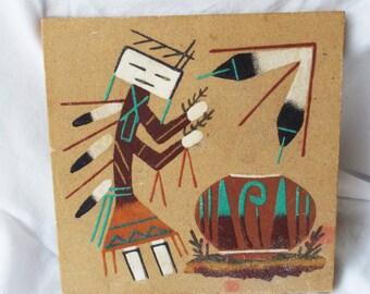 Navajo Indian Kachina Dancer Sand Painting Signed Original