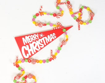 Atomic Christmas Wooden Pennant Sign - Retro Merry Christmas Sign - Vintage Christmas Mantel Decorations - Mid Century Christmas Decorations