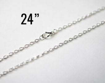 "24 Silver Necklaces - WHOLESALE - Textured Cable Chain - 4x2.5mm - 24"" - Ships IMMEDIATELY from California - CH640b"