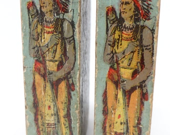 1900 ABC Native American Indians, Soldier Blocks, Antique Wooden Toy Blocks, Lithograph