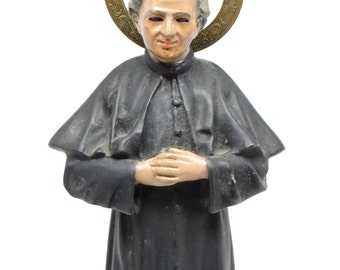 Antique Saint John Bosco Polycrome Santos with Glass Eyes, Brass Halo,  Italian Priest