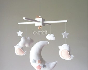 Baby Mobile - Bird Mobile - moon mobile - white and blush Mobile - blush and white mobile - white and peach mobile - Pick your colors :)