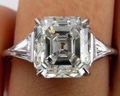 Huge Art Deco 5.38ct Asscher, Square Emerald Cut Diamond Engagement Wedding Platinum Ring