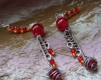 Beaded wire wrapped ear climber dangle earrings red and orange