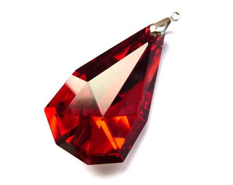 Teardrop Pendant, Drop crystal, focal pendant, focal crystal, big crystal, huge crystal, oversized crystal, red crystal, crystal, fire