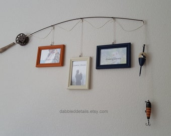 Fishing Pole Picture Frame - Brown or Silver Pole - 3 - 4 in x 6 in Picture Frames - Terra Cotta, Bleached Sand, Navy