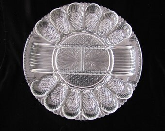 1920's Pressed Cut Glass Deviled Egg-Relish Tray