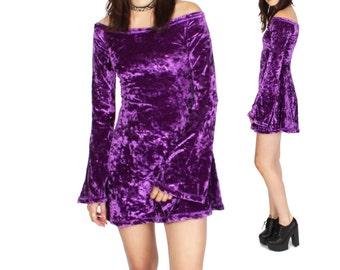 Bell Sleeve Fitted Velvet Dress