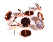 10 pc (5 pairs) 12mm earstud Rose gold findings - fits 12mm cabochons - lead free cadmium free (1630) - Flat rate shipping