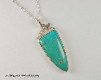 Turquoise Pendant Metalwork Necklace Southwestern Jewelry Handmade Turquoise Necklace Turquoise Jewelry