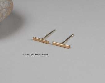 Gold Line Earring Minimal Gold Studs Gold Bar Stud Earrings Gold Bar Earrings 14K Studs Minimal Jewelry