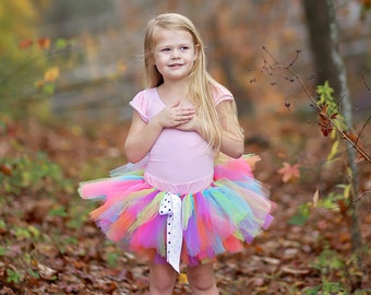 Rainbow tutu 'Teresa' tropical tutu girls rainbow tutu neon rainbow tutu photo prop rainbow birthday tutu skirt size 5 6 7 8 10 12 tutu