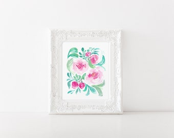 Blooming Peony Watercolor Flower Floral Art Print - 8x10 home decor wall artwork peonies rose garden pink office nursery feminine whimsy