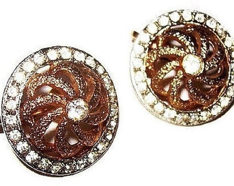 "Rhinestone Clip On Earrings Spiral Domed Clip On Metal Fashion 1"" Vintage"