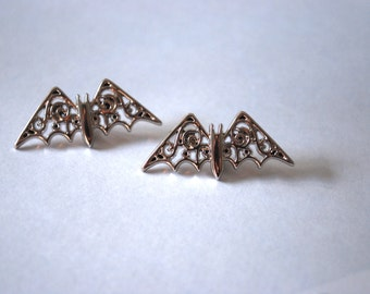 Bat Earrings -- Studs, Silver Bats, Silver