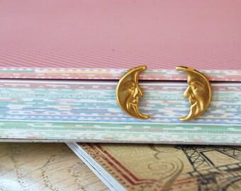 Moon Earrings -- Moon Studs, Little Gold Moon Studs, Kids Earrings