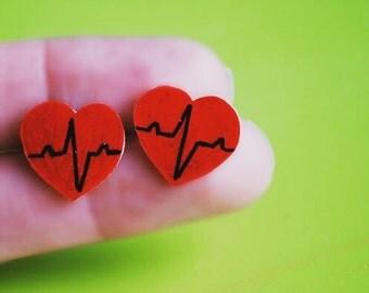 Heart Beat Earrings -- Red Heart Earrings, Studs, Bold Red Hearts, Black Heart Beat
