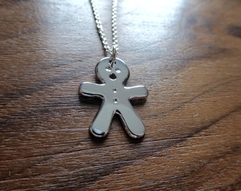 Silver Ginger Bread Man Pendant Necklace