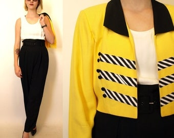 Vintage 80s yellow black white jumpsuit jacket size 10 M