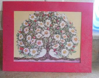 Matted Sweet Briar Rose with love doves  calendar paper  print 1989 artist Paula Plott