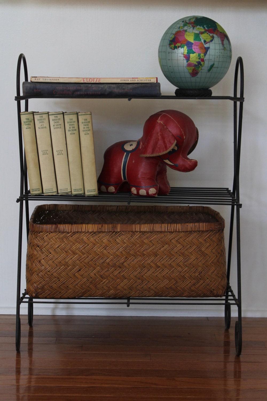 vintage 3 tiered wrought iron metal shelves metal. Black Bedroom Furniture Sets. Home Design Ideas