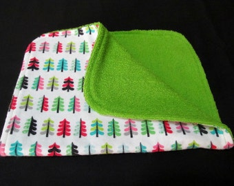 Baby Burp Cloth, Colorful Trees, Cotton Burp Cloth