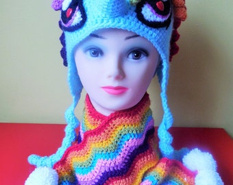 Pony crocheted hat and scarf pattern
