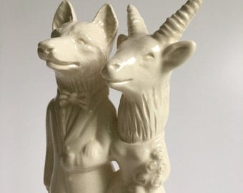 Wolf and Mountain Goat Ceramic Wedding Cake Topper