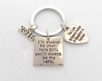 FATHER of the BRIDE Mens Grandpa Daddy's girl, You'll always be hero, Inspirational Mens Jewelry I'll always be your Little Girl Keychain,