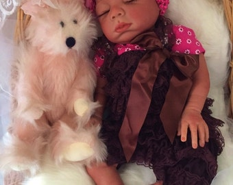 Completed Bi Racial Kayla Completed Reborn Baby Doll from the Baylee 21 inch kit