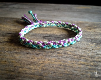 Pastel Friendship macrame bracelet with tassel summer boho jewelry woven in Turquoise Mauve and Green braided by Mariposa