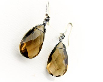 Large Crystal Teardrop Earrings, Brown Briolette Jewelry, Gift for her, Thank you gift for women