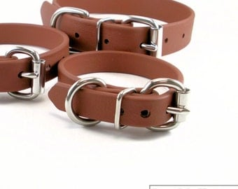 """Milk Chocolate Brown Biothane Dog Collar - 5/8"""" (16mm) wide - Leather Look and Feel - Small Dog Collar - Stainless Steel or Brass Hardware"""