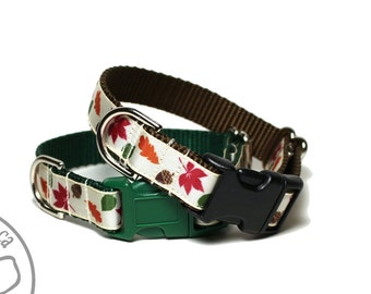 """Leaves of Autumn Dog Collar - 3/4"""" (19mm) wide - Fall - Your Choice of color, size and 4 dog collar styles"""