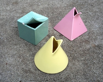 Shapes -- Totally sweet set of ceramic containers shaped like 3-D geometric shapes -- Mikasa