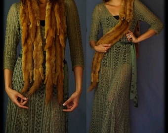 last century 8 mink fur stole / vintage body wrap in warm glossy fur with cute full bodies tails and heads /1930s 1940s stole