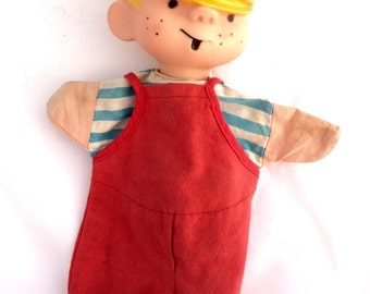 Vintage Dennis The Menace Hand Puppet Soft Rubber Hollow Head Cloth Body