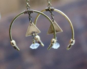 Boho Herkimer DIAMOND Quartz Stunning Earrings • Healing Quartz • Boho Chic • Bohemian • Ethnic • Dangle Earrings • Nature Inspired