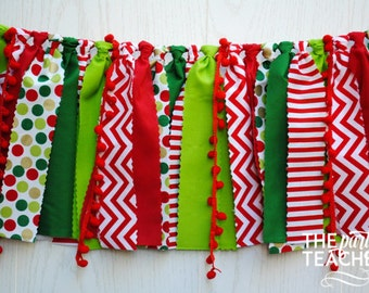 Christmas Fabric Bunting - FREE Shipping - Christmas Bunting - Christmas Fabric Garland - Christmas Garland - Christmas  - Christmas Party