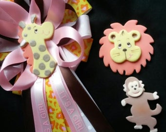 Baby shower corsage/FREE shipping for just 12.99 / your choice/Giraffe/ Lion/ Monkey/animal theme/Safari/ Jungle/ COLD PORCELAIN/Beautiful
