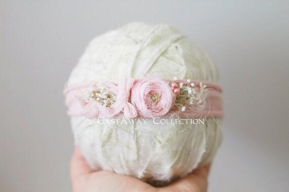 JERSEY COLLECTION ~ Newborn Headband, Newborn Tieback, Newborn Flower Crown, Newborn Halo, Organic Photography Props, Stretch Jersey, Pink