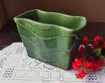 Green Upco Planter, Green Pillow Planter with Rain Drop Design