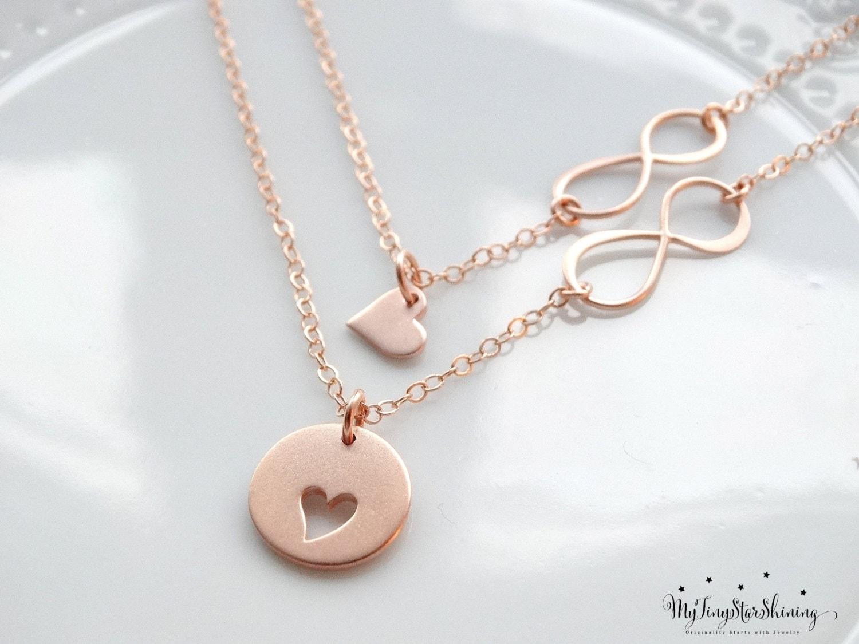 mother daughter necklace set rose gold necklace infinity heart. Black Bedroom Furniture Sets. Home Design Ideas