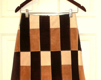Vintage Michael Hoban Suede Patchwork Skirt Women's Size 2