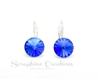 Sapphire Crystal Earrings Swarovski Rivoli Ocean Blue Earrings Sparkly Bridal Bridesmaid Gift Bridesmaid Jewelry Dark Blue Navy Blue K011