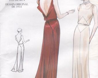 30s Style Evening Dress Pattern Vogue Vintage 2241 Size 12 Uncut